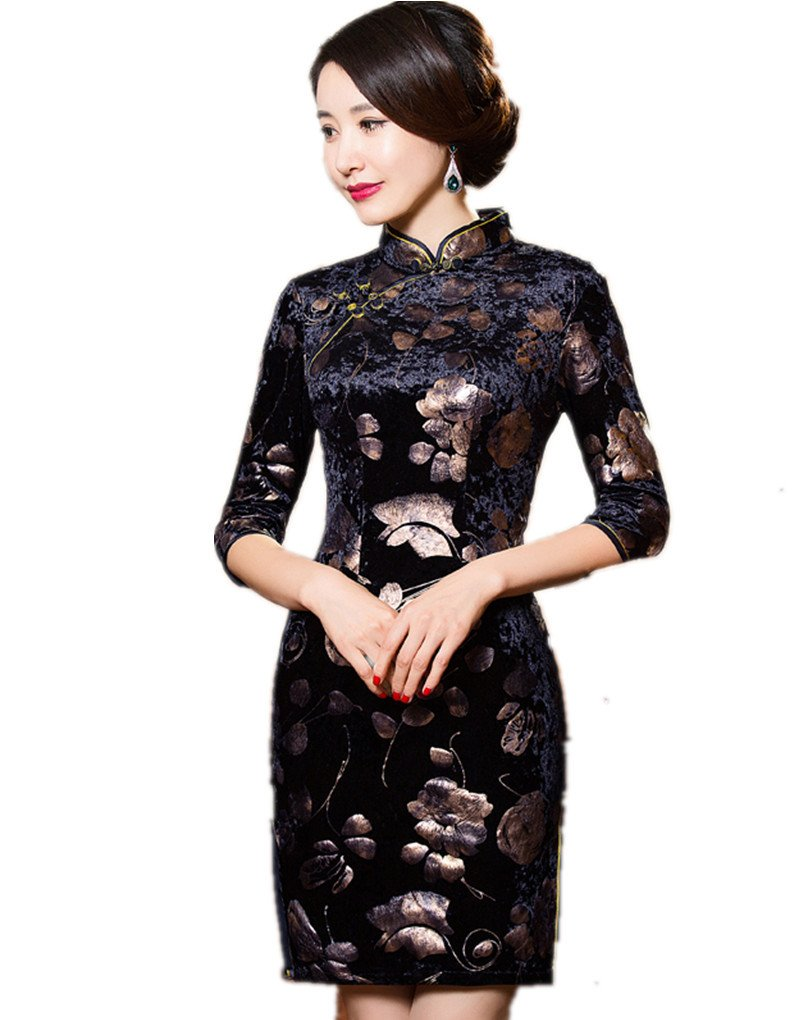 Shanghai Story Floral Cheongsam Half Sleeve Velvet Qipao Chinese Dress 4XL