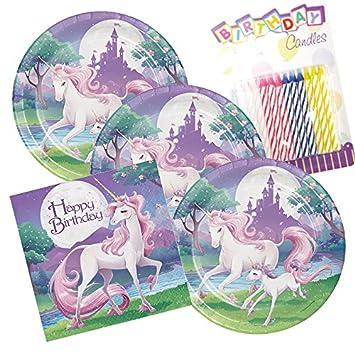 Amazon.com: Unicornio Fantasía Feliz cumpleaños Tema Platos ...