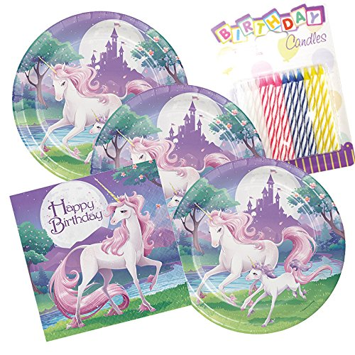 (JJ Party Supplies Unicorn Fantasy Happy Birthday Theme Plates and Napkins Serves 16 With Birthday Candles)