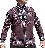 RaanPahMuang Brand Africa Dashiki Boubou Bright Fashion Work Shirt Light Cotton, X-Large, Dark Gray
