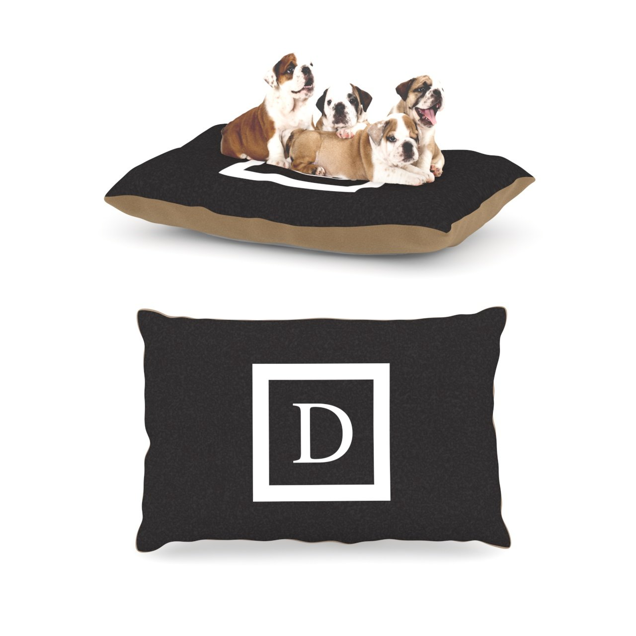 D Large 30  x 40 Kess InHouse Solid Black Fleece Dog Bed, 30 by 40Inch, Monogram LetterN