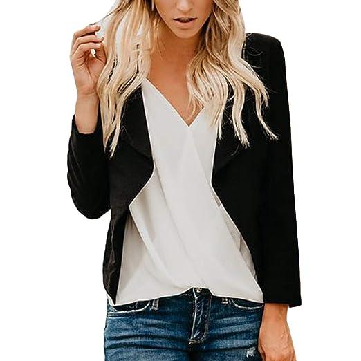 d92ae85da04c Witspace Women Long Sleeve Blazer Open Front Short Cardigan Suit Jacket Work  Office Coat Black