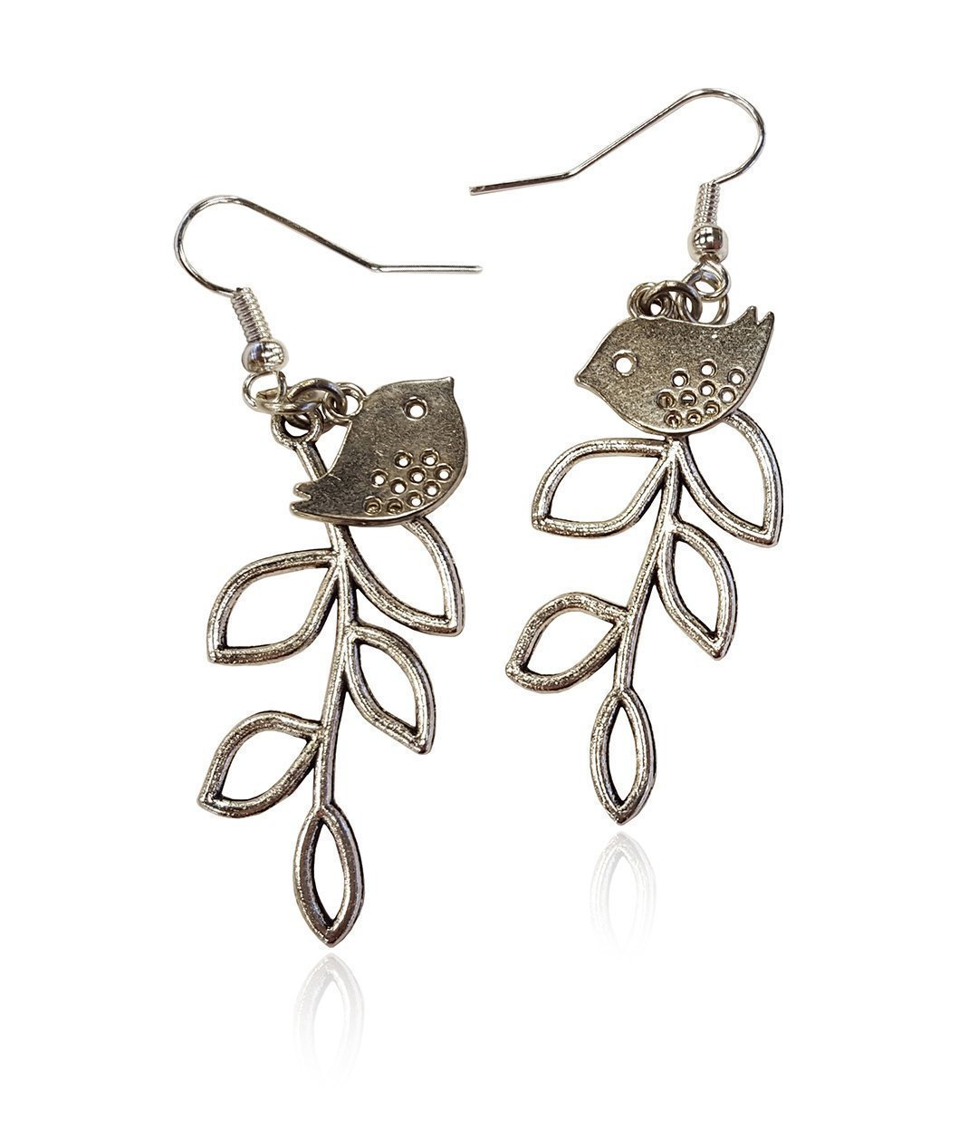 Bird and Branch Unique Tree Leaf Earrings, Silvertone Statement Fishhook Dangle Women's Earring Set
