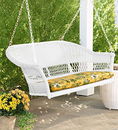 Plow & Hearth 39003-BWH Easy Care Outdoor Resin Wicker Swing, Bright White