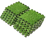 Sorbus Grass Mat Interlocking Floor Tiles – Soft Artificial Grass Carpet – Multipurpose Foam Tile Flooring – Great for Patio, Playroom, Gym, Tradeshow, 12 Sq ft (12 Tiles)
