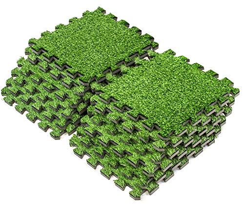 (Sorbus Grass Mat Interlocking Floor Tiles – Soft Artificial Grass Carpet – Multipurpose Foam Tile Flooring – Great for Patio, Playroom, Gym, Tradeshow, 12 Sq ft (12 Tiles))