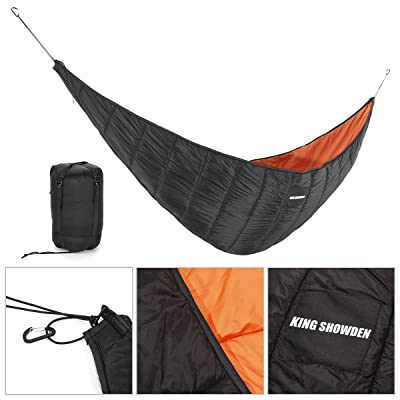KING SHOWDEN Hammock Underquilt Lightweight Camping Winter Sleeping Bag Under Quilt Blanket Ultralight Underquilt Keep Your Warmer Saves Space Portable (Black&Orange): Sports & Outdoors