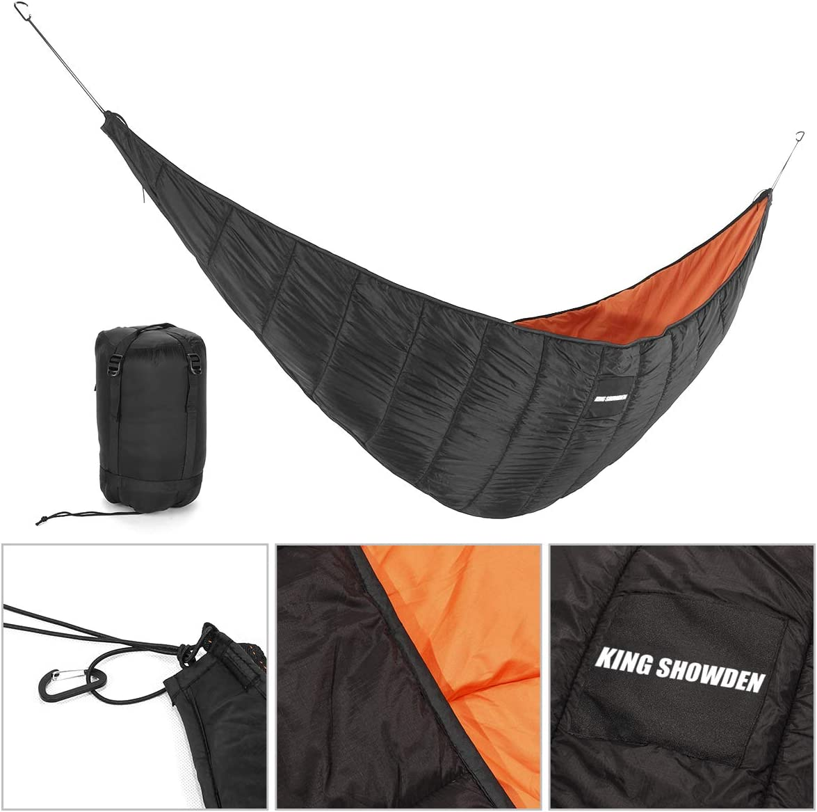 G4Free Large Camping Hammock with Mosquito Net 2 Person Pop-up Parachute Lightweight Hanging Hammocks Tree Straps Swing Hammock Bed for Outdoor Backpacking Backyard Hiking Black Orange