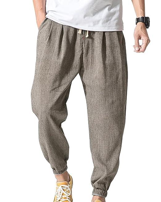 promo code 74614 fad11 ShiFan Uomo Harem Pantaloni da Jogging Casual Danza Pantaloni di Lino