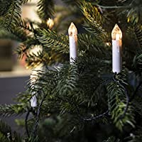 50 luces de cadena para interiores con velas de Navidad, sin llama, de color blanco cálido LED y clips de árboles