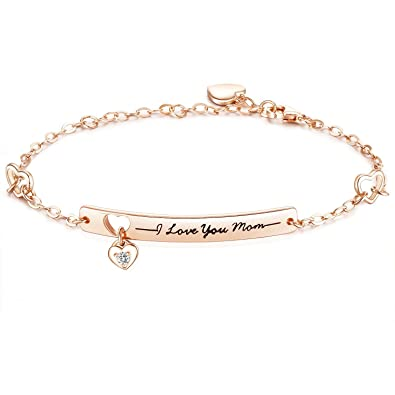 "8236699c8b391 NINAMAID ""I Love You Mom"" Engraved 925 Sterling Silver Bracelet with  Sparkling Cubic Zirconia Mother's Gift"