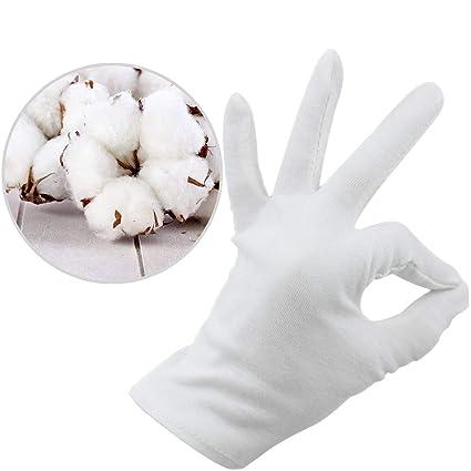 White Cotton Gloves For Inspection Dry Hands Large For Men Women
