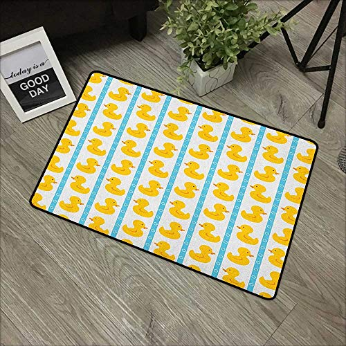 - Floor mat W35 x L47 INCH Rubber Duck,Yellow Duckies with Blue Stripes and Small Circles Baby Nursery Play Toys Pattern,White Non-Slip Door Mat Carpet