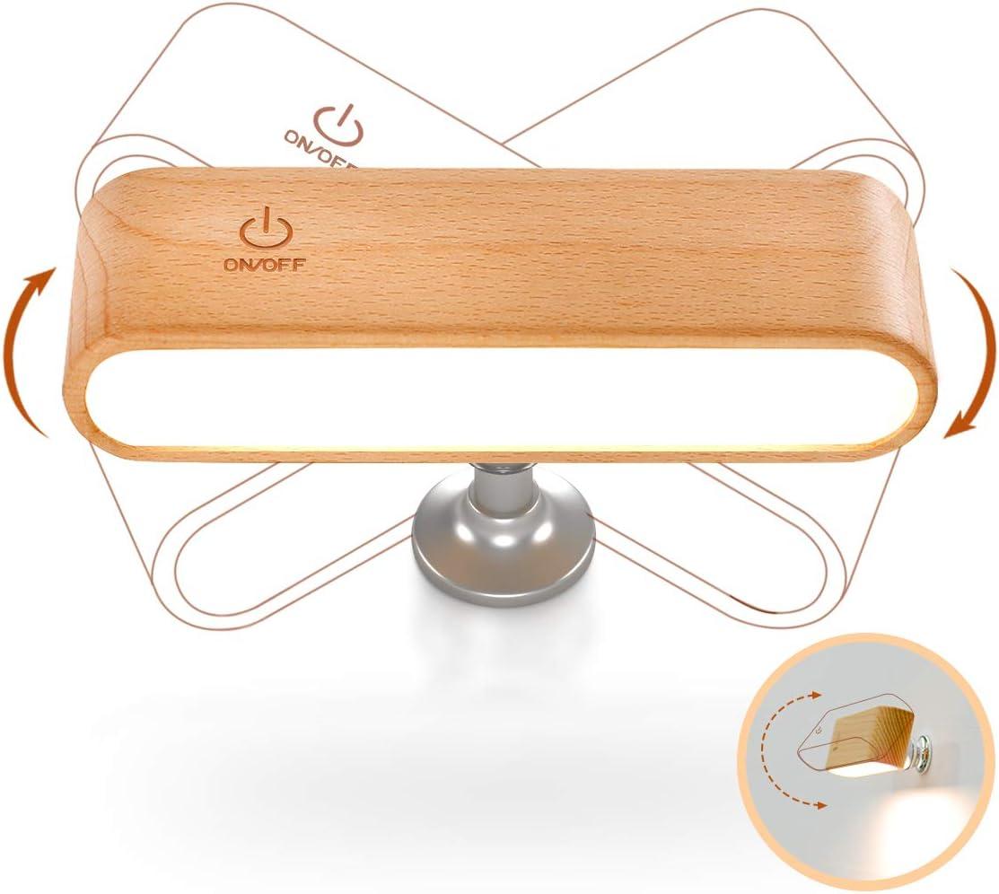 デスクライト led 読書灯 usb 壁ライト 充電式 ベッドサイドランプ 輝度調整 360°角度調整