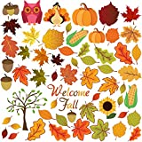 FRIDAY NIGHT 58PCS Thanking Fall Autumn Leaves Acorns Window Sticker Decorations for Fall Decorations , Thanking Day , Autumn Party Decorations