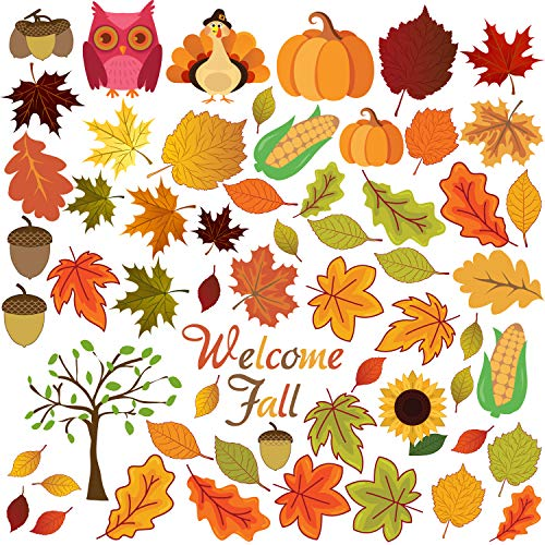FRIDAY NIGHT Thanksgiving Fall Autumn Leaves Acorns Window Sticker