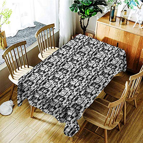 XXANS Rectangular Tablecloth,Abstract,Asymmetric Greyscale Pattern Optical Tessellation with Overlapping Shapes,Party Decorations Table Cover Cloth,W54x72L Black Grey White -