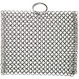 Laxhand Cast Iron Cleaner Chainmail Scrubber 316 Stainless Steel Pot Pan Griddle Scraper with Ring for Skillets, Ovens,Teakettles, 8x6 inch