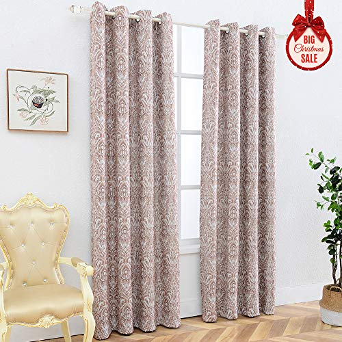 AJJ Print Damask Thick Thermal Insulated Energy Efficient Room Darkening Blackout Grommet Top Window Curtain Panels for Bedroom,2 Panels, 52