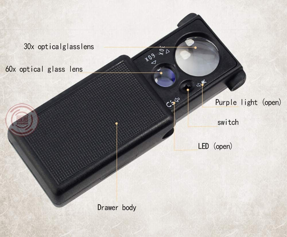 JIAHE115 Hand-held Magnifier Pull-Out Magnifying Glass with Light Handheld Portable 30 Times Antique Jewelry Identification high-Definition Magnifying Glass