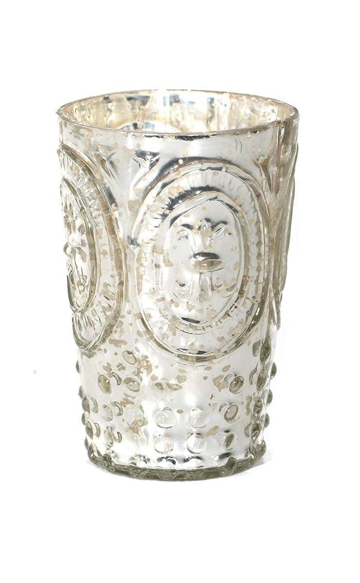 """Direct Décor Vase Mint Julep/Votive Holder Mercury Glass Silver Fleur de lis 4.5"""" X 3"""""""