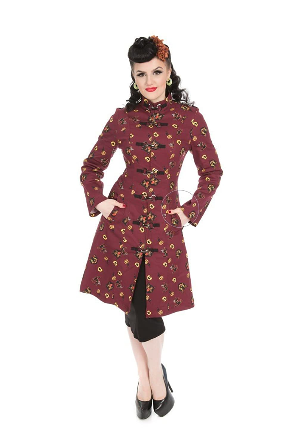 1950s Jackets, Coats, Bolero | Swing, Pin Up, Rockabilly Hearts & Roses Strait Jacket in Halloween Kitty Print (Shipped from The US US Sizes) $64.88 AT vintagedancer.com