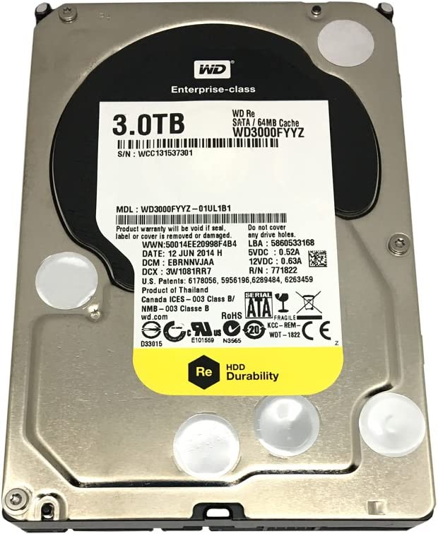 "Western Digital WD3000FYYZ ENTERPRISE 3TB 7200RPM, 64MB Cache SATA 6.0Gb/s 3.5"" internal hard drive Bare Drive"