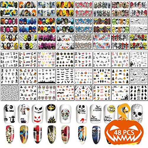 TailaiMei 48 Sheets Halloween Nail Art Stickers - Water Transfer DIY Nail Decals Stencil for Halloween ()