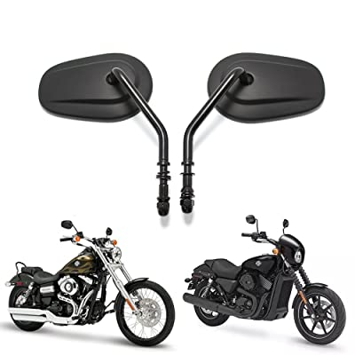 Black Matte Motorcycle Side Mirrors for Cruiser Touring Harley Davidson XL 883 1200: Automotive