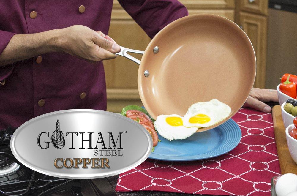 BestofTv/M6 Gotham Copper Steel - Sartén de cerámica, 28 x 28 x 5 cm, Color Negro