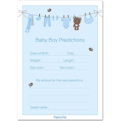 Papery Pop 30 Baby Shower Prediction and Advice Cards for The Baby Boy - Baby Shower Games Decorations Activities Supplies Invitations: Toys & Games