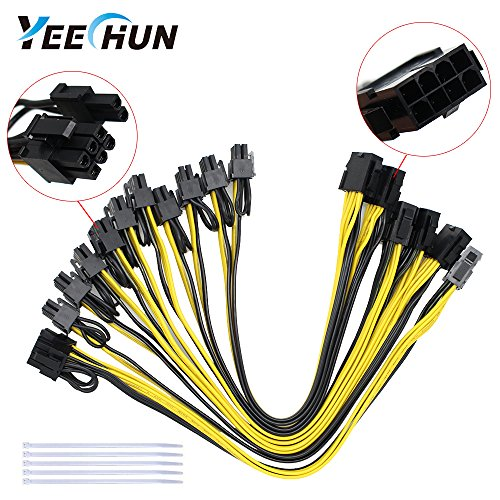 YEECHUN [6PCs] 18AWG GPU 8Pin to Dual 6+2Pin Power Supply Cable for CPU Splitter PCI-E Graphics Card,Power Extension Cable 8Pin CPU molex,GPU Mining ZEC Ethreum ETH(11.8Inch,with 5 Nylon Cable Ties)