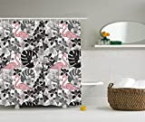 Pink and Black Shower Curtain Fabric Ambesonne Flamingo Decor Collection, A Pair of Flamingos Pattern with Big Leaves Flowers Tropical Plants on the Background, Polyester Fabric Bathroom Shower Curtain, Black White Pink