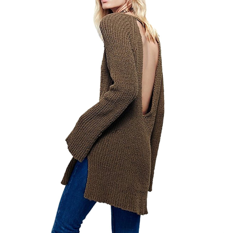 Womens V-Neck Long Sleeve Knitwear Split Backless Sweater Shirt Blouse Tops