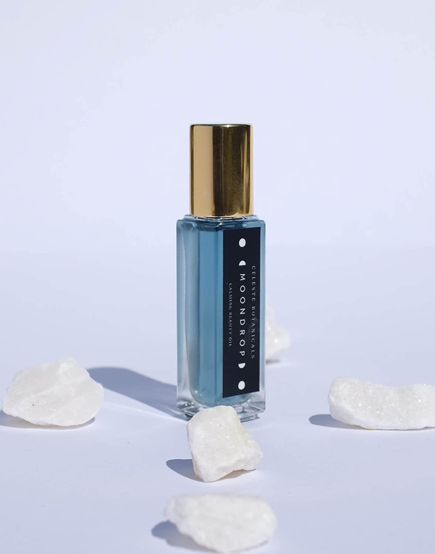 Celeste Botanicals Moondrop Organic Facial Oil   Blue Tansy   Reduce Redness   Anti-aging   Anti-inflammation   0.3 Fl Oz Roller Bottle