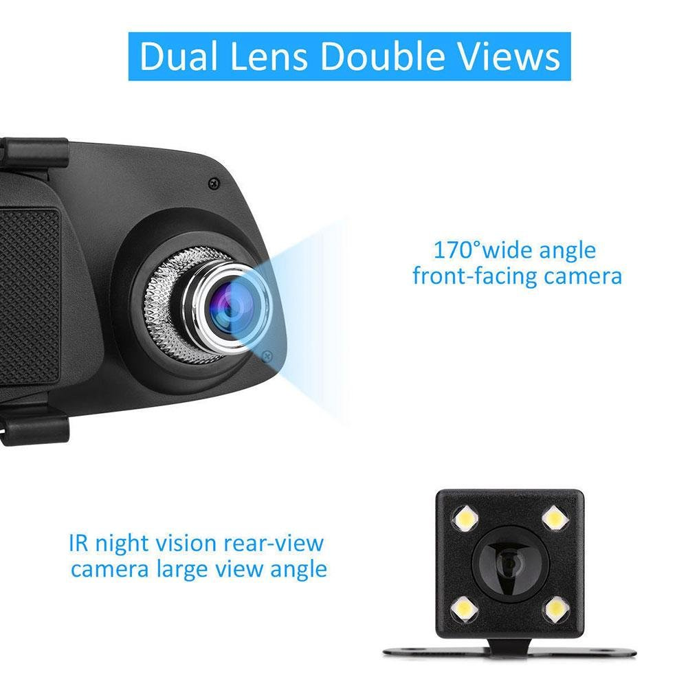 Amazon.com: ZHUOTOP 1080P 5 pulgadas HD doble lente coche DVR retrovisor cámara de vídeo cámara de visión nocturna: Automotive