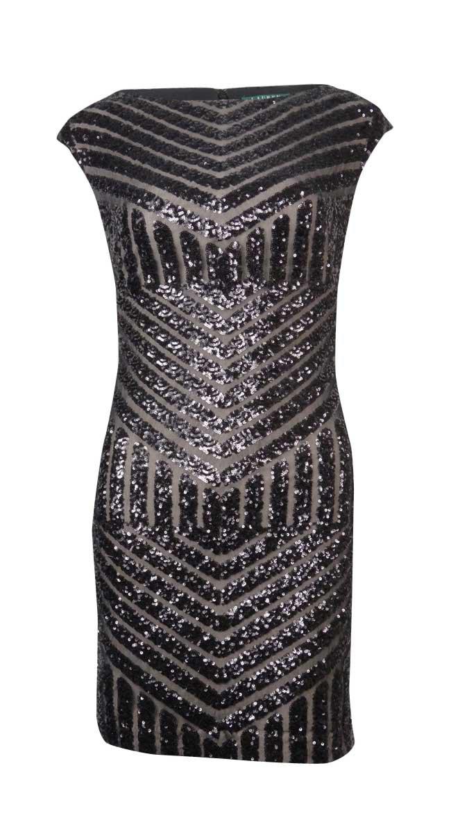 RALPH LAUREN Lauren Women's Chevron-Sequined Sheath Dress (8P, Black)
