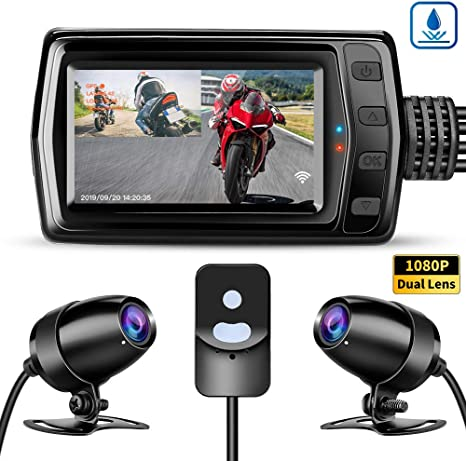 Motorcycle DVR 1080P Dual Camera WiFi Driving Recorder G-Sensor Parking Monitor