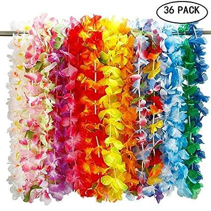 90cm Pack of 24 Hawaiian Fancy Dress Party Assorted Colour Hawaiian Lei