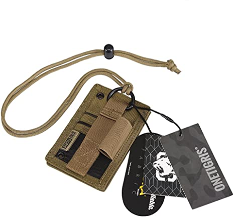 Armée Tactique ID Card Holder Case Organisateur Clip de crédit Portefeuille en cuir cou Reel