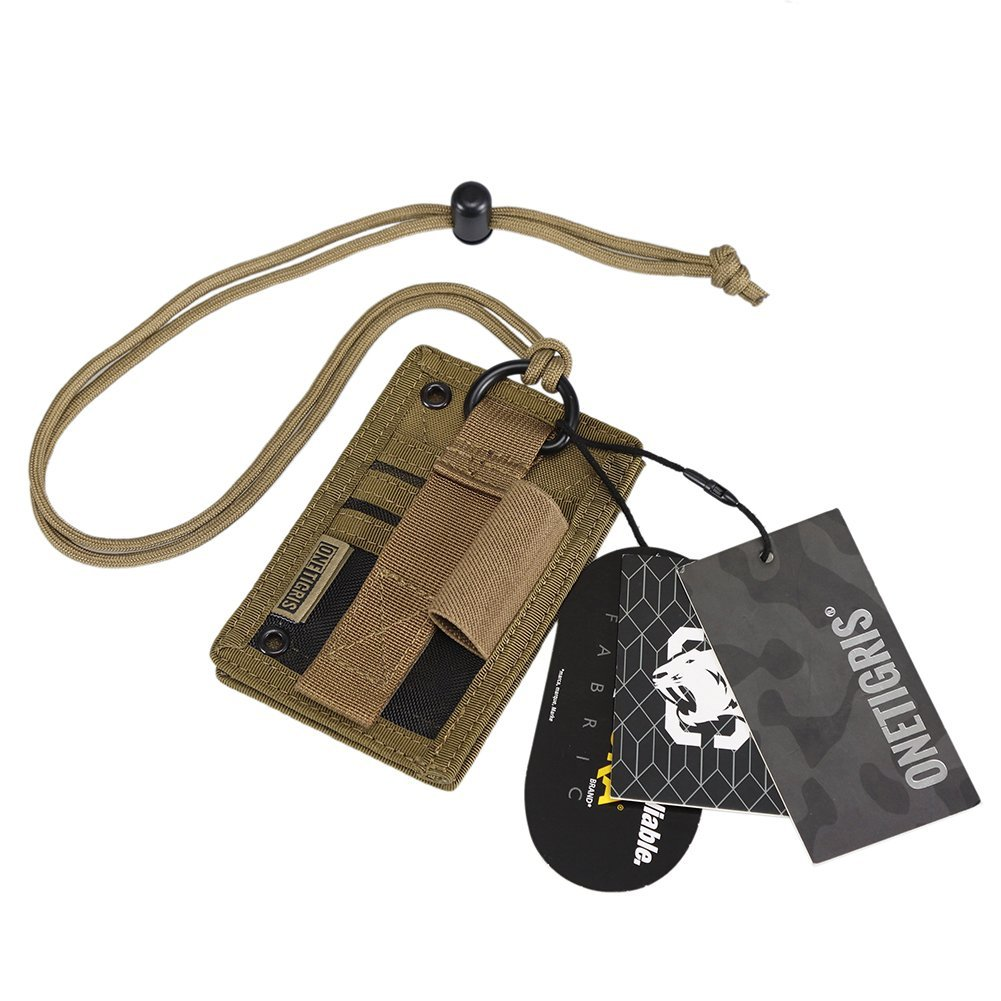 OneTigris Tactical ID Card Holder Hook & Loop Patch Badge Holder Neck Lanyard Key Ring and Credit Card Organizer (Coyote Brown-500D Codura)
