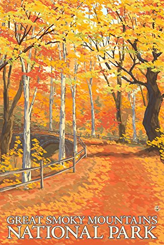 Great Smoky Mountains National Park, Tennesseee - Fall Colors (24x36 SIGNED Print Master Giclee Print w/ Certificate of Authenticity - Wall Decor Travel Poster)