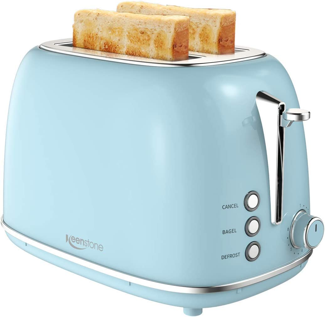2 Slice Toaster with Bagel, Cancel, Defrost Function and 6 Bread Shade Settings Bread Toaster, Extra Wide Slot and Removable Crumb Tray Stainless Steel Toaster, Blue (Renewed)