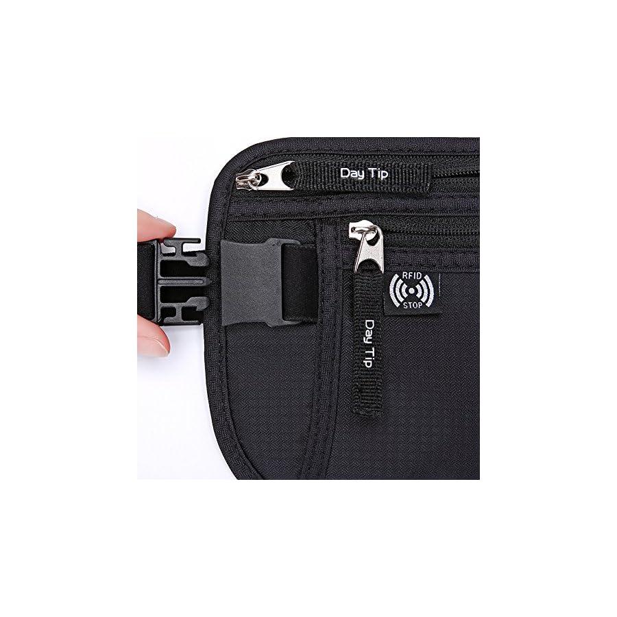 Day Tip Money Belt Passport Holder Secure Hidden Travel Wallet with RFID Blocking, Undercover Fanny Pack