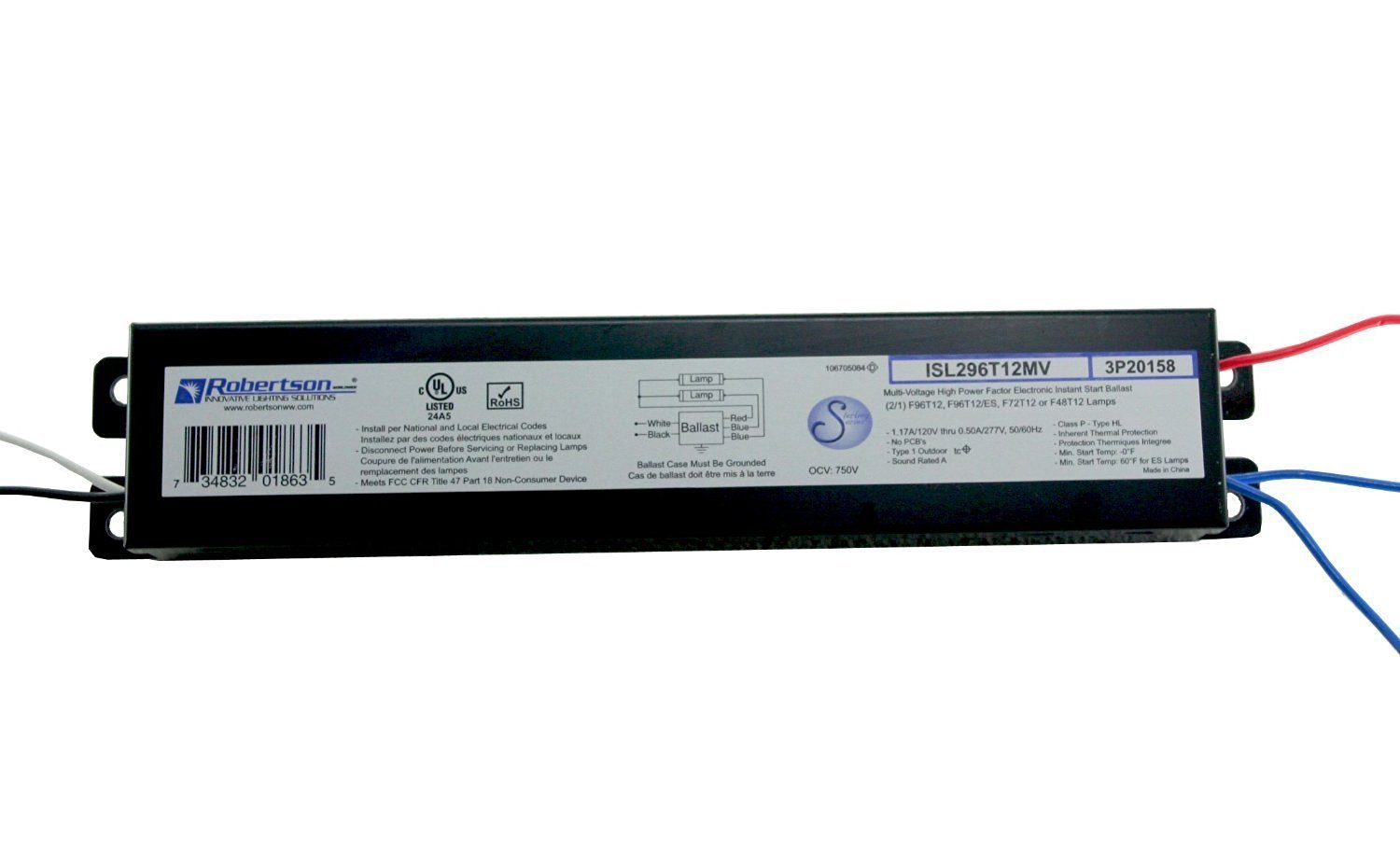 ROBERTSON 3P20158 ISL296T12MV Fluorescent Electronic Ballast for 2 F96T12 Linear Lamps, Instant Start, 120-277Vac, 50-60Hz, Normal Ballast Factor, HPF Robertson Worldwide