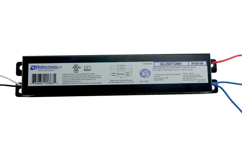 ROBERTSON 3P20158 ISL296T12MV Fluorescent Electronic Ballast for 2 F96T12  Linear Lamps, Instant Start, 120
