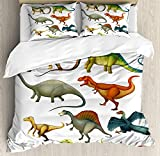 Dinosaur Comforter Set,Various Different Ancient Animals from Jurassic Period Cartoon Collection Mammals Bedding Duvet Cover Sets For Boys Girls Bedroom,Zipper Closure,4 Piece,Multicolor Twin Size