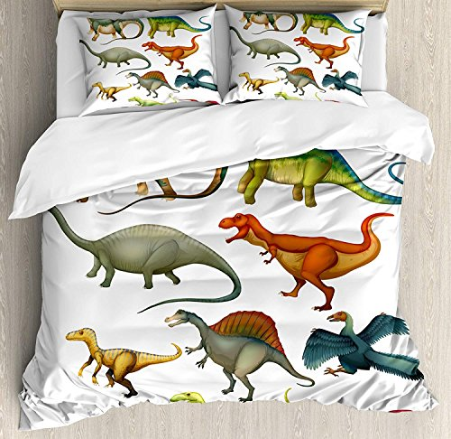 Dinosaur Comforter Set,Various Different Ancient Animals from Jurassic Period Cartoon Collection Mammals Bedding Duvet Cover Sets For Boys Girls Bedroom,Zipper Closure,4 Piece,Multicolor Twin Size by Our Wings