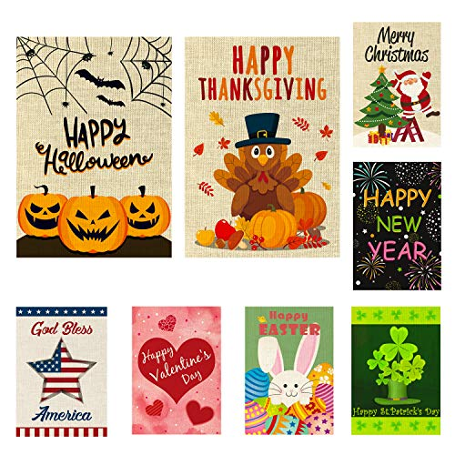Halloween Garden Decorations Ideas - WATINC 8 Pack Seasonal Garden Flags