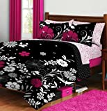 Pink & Black Teen Girls Queen Comforter & Sheet Set (7 Piece Bed In A Bag) by Twilight Garden